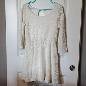 Off White Sparkly Mini Dress